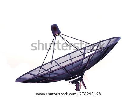 Satellite dish transmission data Isolated on white background. - stock photo