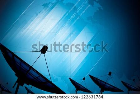 Satellite dish transmission data on background digital blue - stock photo