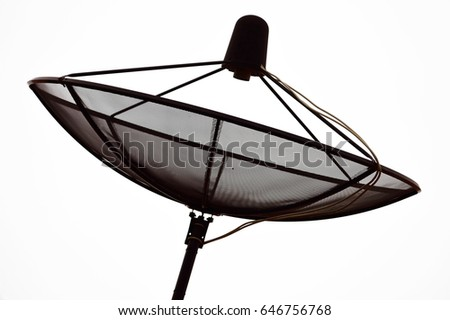 Satellite dish TV for home roof installation isolate on white background,Black satellite dish  Receiving