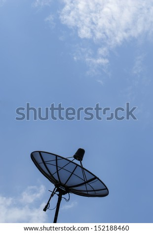 Satellite dish with blue sky and cloud - stock photo