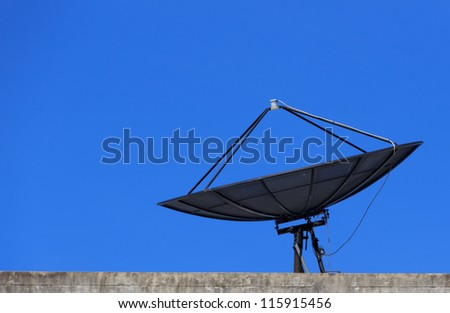 Satellite Dish with Blue Sky on Roof, Closeup