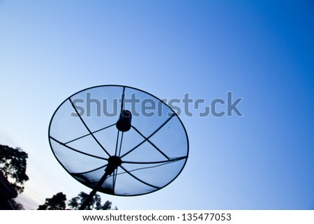 Satellite dish with the blue sky background
