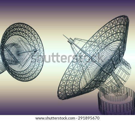 Satellite dishes - stock photo