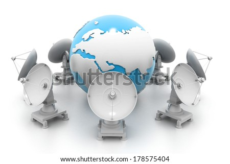 Satellite dishes and earth - stock photo