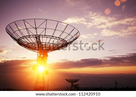 satellite dishes antenna - stock photo