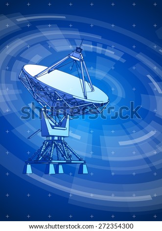 satellite dishes antenna - doppler radar & blue radial technology background, radial HUD interface elements - stock photo