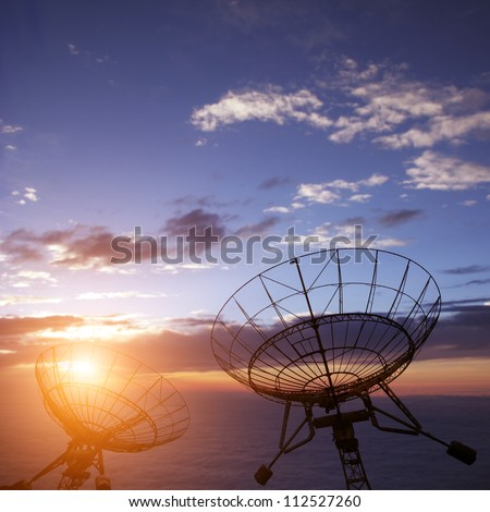 satellite dishes antenna with blue sky