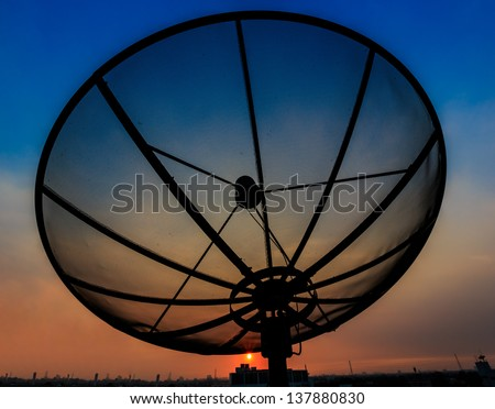 satellite dishes at the sunset