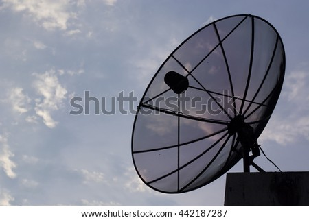 Satellite dishes communication technology network with blue sky
