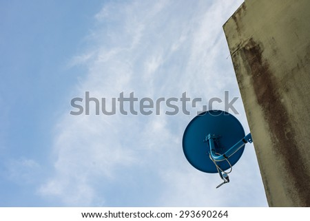 Satellite dishes installed on buildings.