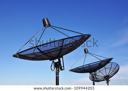 Satellite dishes on blue sky background