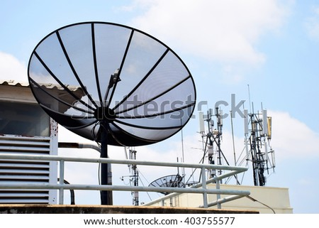 Satellite dishes on buildings