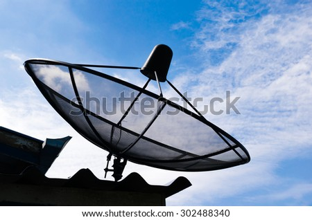 Satellite dishes on housetop