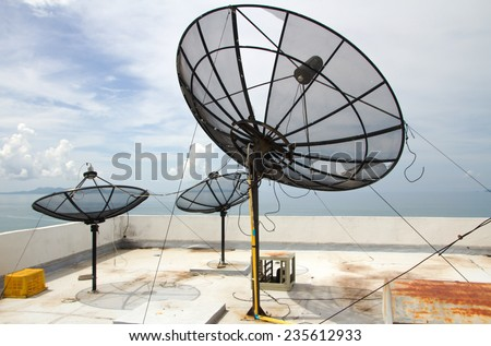 satellite dishes on the roof of skyscrapers, sea, sky, clouds