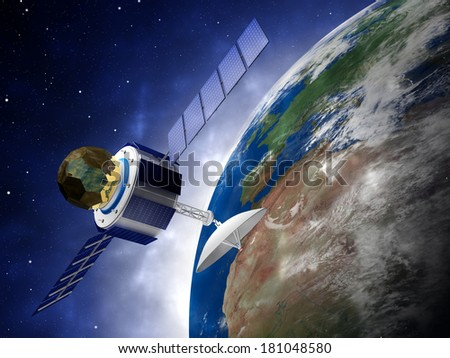 Satellite (Elements of this image furnished by NASA) - stock photo