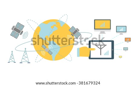 Satellite global network provider icon flat. Internet communication, computer technology, information digital, signal and connection station, web wireless space. Global network provider. Raster - stock photo