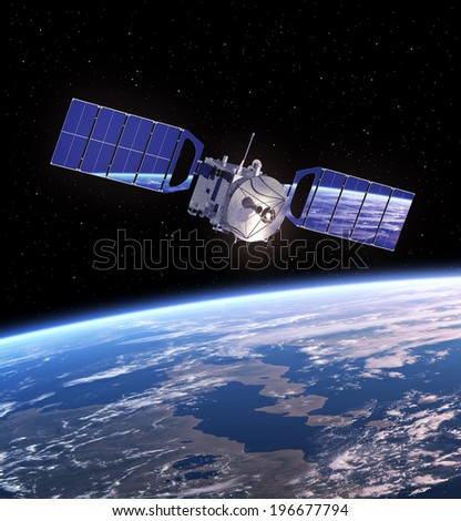 Satellite In Space. 3D Scene. Elements Of This Image Furnished By NASA.  - stock photo