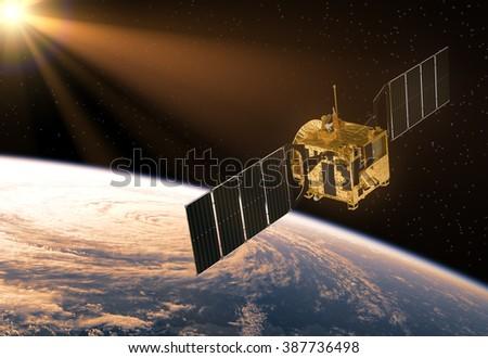 Satellite In The Rays Of Sun. 3D Scene. - stock photo