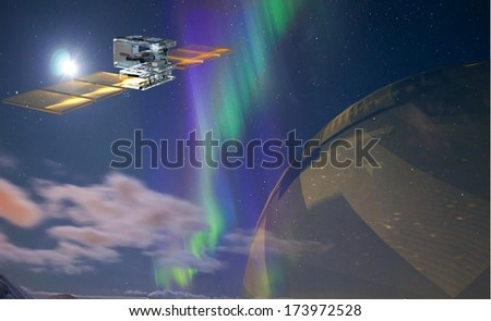Satellite in the space - stock photo