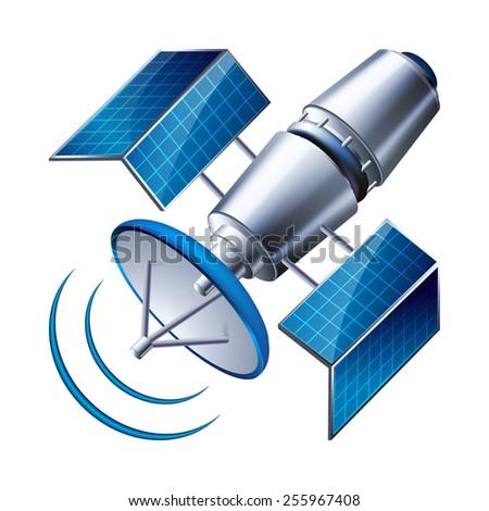 satellite isolated on white background.  - stock photo