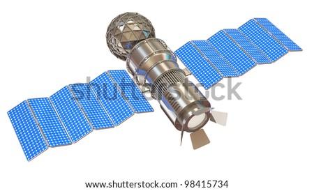 Satellite isolated on white background - stock photo