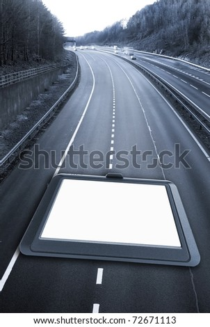 Satellite navigation concept with road - stock photo