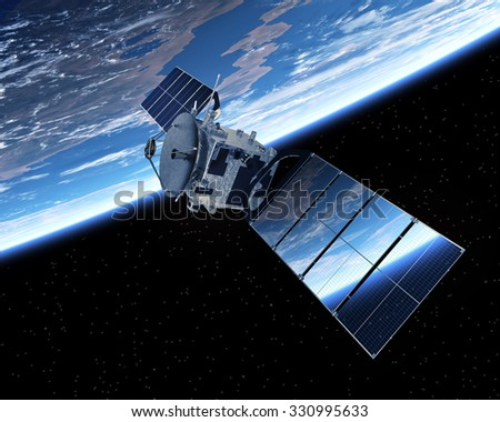 Satellite Orbiting Earth. 3D Scene.