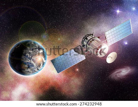 satellite orbiting the earth in the outer space - Elements of this image furnished by NASA - stock photo