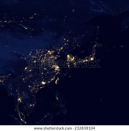 Satellite Photo of Asia at Night.Elements of this image are furnished by NASA - stock photo
