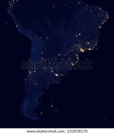 Satellite Photo of South America at Night.Elements of this image are furnished by NASA - stock photo