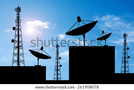 Satellite shadow and phone antenna orange sky background