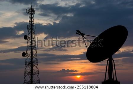 Satellite shadow sky background - stock photo