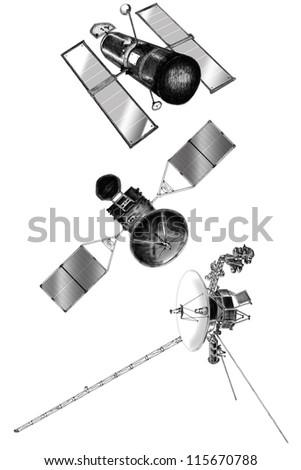 satellite sketching - stock photo