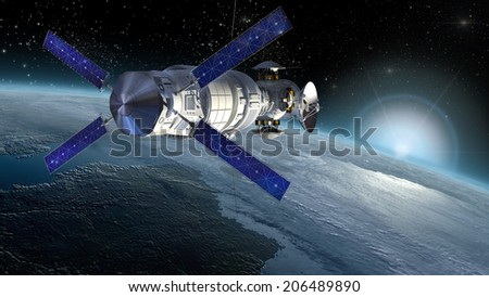 Satellite, space lab or spacecraft design for space science backgrounds, interstellar travel or military surveillance. 3D mapping is using a .jpg file provided under  general permission by NASA. - stock photo