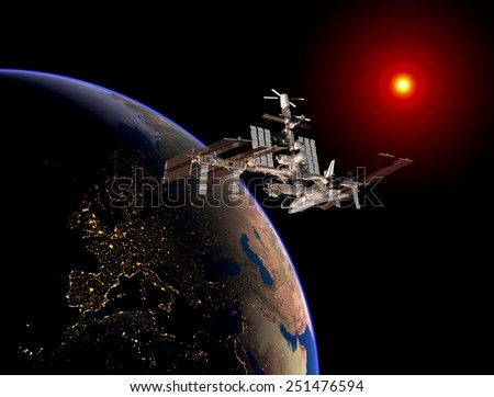 Satellite space station Europe space sun earth. Elements of this image furnished by NASA. - stock photo