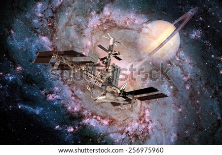 Satellite space station spaceship spacecraft milky way planet. Elements of this image furnished by NASA. - stock photo