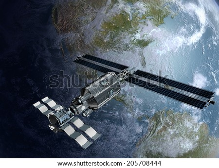 Satellite, spacelab or spacecraft design for sci-fi backgrounds, interstellar space travel or futuristic military war games.3D mapping is a .jpg file provided under general permission by NASA.  - stock photo