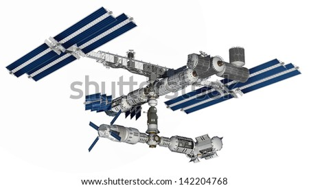 Satellite Spacestation flying over Earth with reflective solar panels and a modular interchangeable structure. Isolation path included in file, on white - stock photo