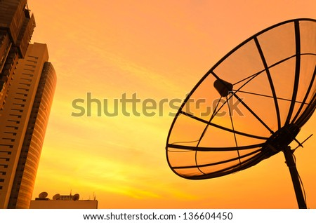 Satellite sunset with modern building