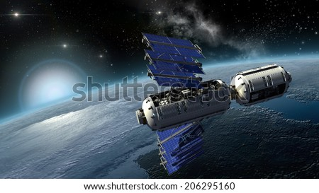 Satellite surveying Earth, spacelab or spacecraft design for sci-fi backgrounds, interstellar travel or futuristic military war games. Earth map is a file provided under general permission by NASA.  - stock photo