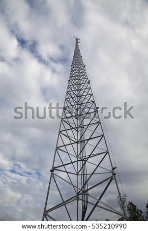 Satellite tower with diminishing perspective