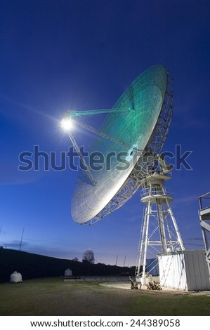 Satellite tracking antenna dish at Stanford University in Northern California, 2007. - stock photo