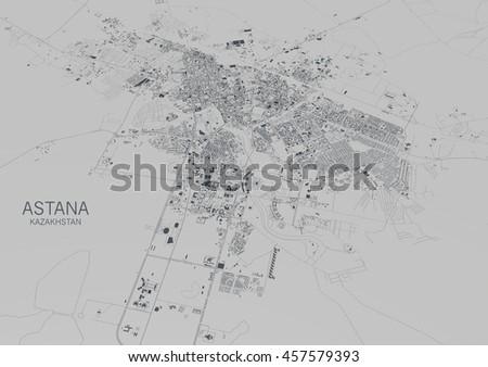 Satellite View City Astana Map Kazakhstan Stock Illustration