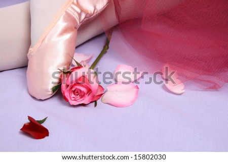 Satin Ballet shoe with a pink rose.