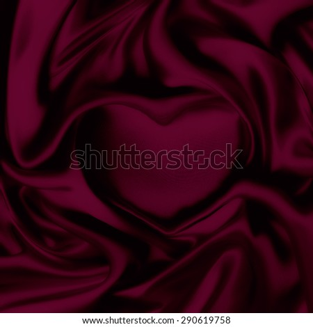 satin draped in the form of heart - stock photo