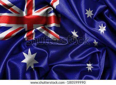 Satin flag, three dimensional render, flag of Australia - stock photo