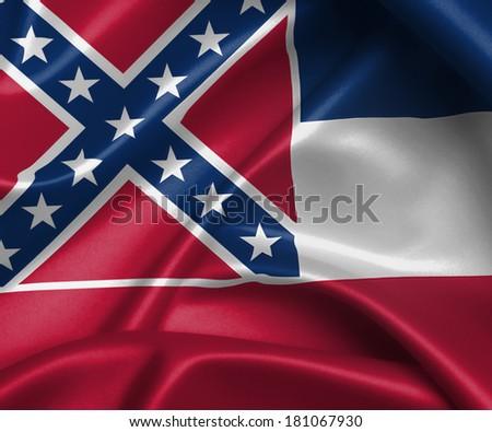Satin flag, three dimensional render, flag of Mississippi - stock photo