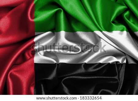 Satin flag, three dimensional render, flag of the United Arab Emirates - stock photo
