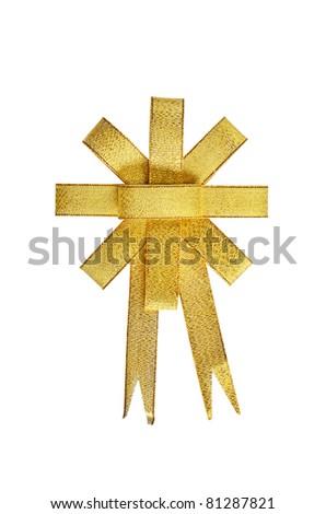 Satin Gold ribbon isolated on white background - stock photo
