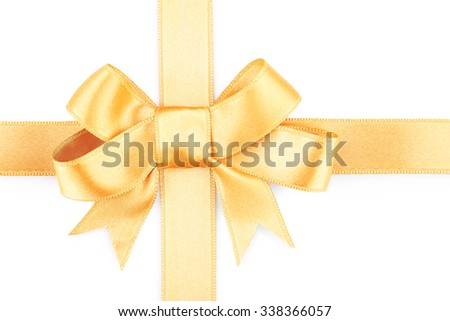 Satin peach ribbon bow isolated on white
